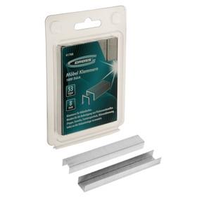 Скобы для мебельного степлера GROSS, 8 мм, тип 53, усиленные, 1000 шт. Ош
