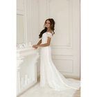 """Свадебное платье """"Жозефина"""" молочное, с шлейфом, ручная вышивка стеклярусом 44-46 р-р"""
