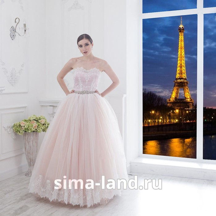 "Свадебное платье ""Алсу-Бенуа мини"" пудровое без шлейфа, еврофатин, кружево по низу юбки44-46   28149"