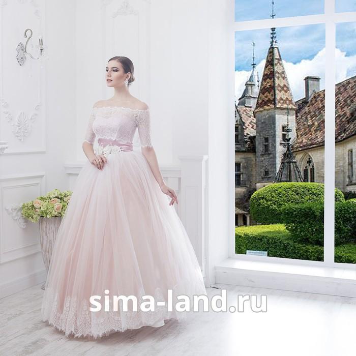 """Свадебное платье """"Алсу"""" пудровое без шлейфа, еврофатин, кружево по низу юбки, с поясом 42-44   28149"""