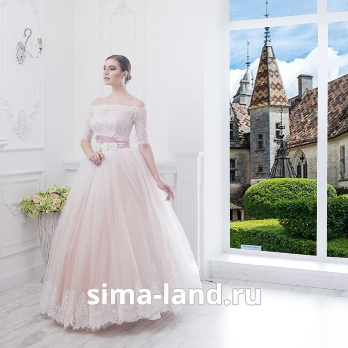 """Свадебное платье """"Алсу""""пудровое без шлейфа, еврофатин, кружево по низу юбки, с поясом 46-48   281498"""