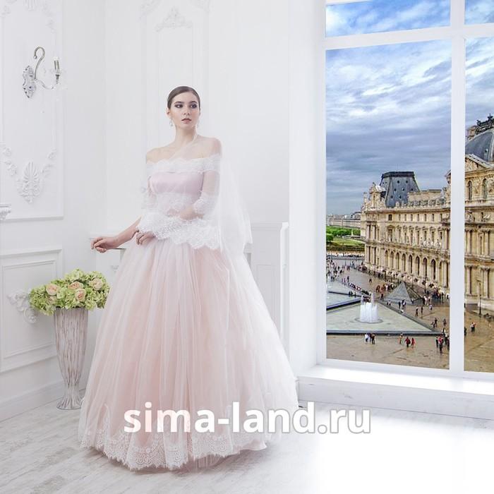 "Свадебное платье ""Алсу"" пудровое без шлейфа, еврофатин, кружево по низу юбки, болеро 42-44"