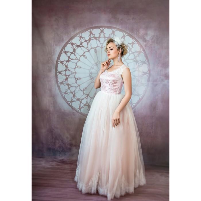 """Свадебное платье """"Даниэлла"""" пудровое.Евро-фатин,корсет,маечка, кружево 44-46"""