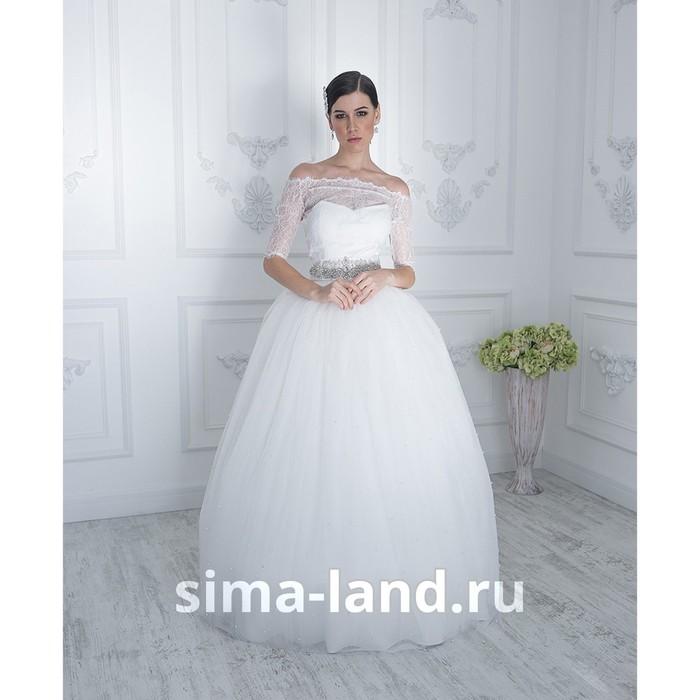 """Свадебное платье """"Жемчужина"""" молочное,еврофатин усыпан жемчугом,с поясом и болеро 42-44"""
