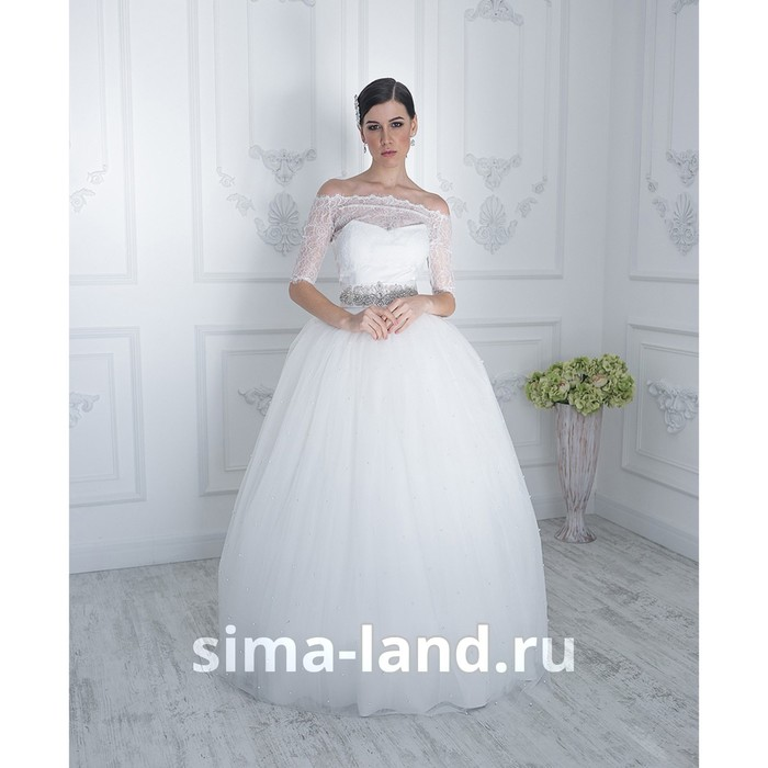 """Свадебное платье """"Жемчужина"""" молочное,еврофатин усыпан жемчугом,с поясом и болеро 46-48"""