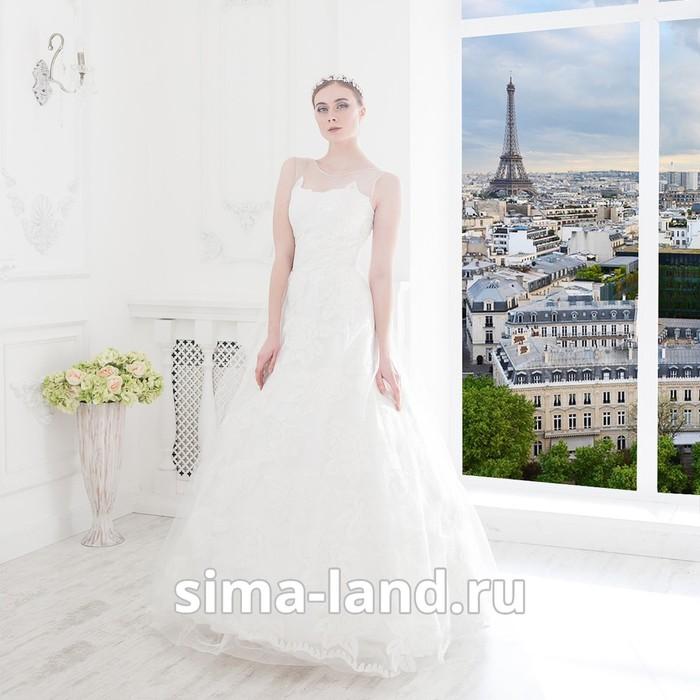 """Свадебное  платье """"Эрика"""", молочное, кружевное, расшито микро-пайетками 46-48"""