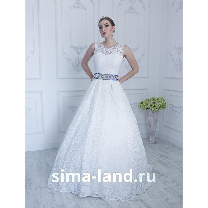 """Свадебное платье """"Виктория премиум"""" кружевное с вырезом на спине и поясом.молочное 44-46"""