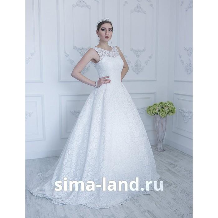 """Свадебное платье """"Виктория премиум"""" кружевное с вырезом на спине и пояс. молочное 46-48"""