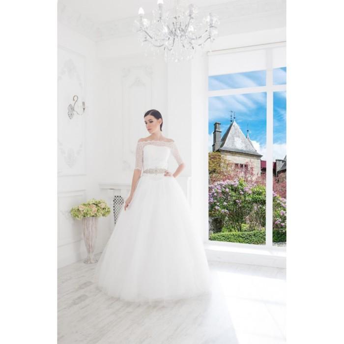 """Свадебное платье """"Джульетта-Бенуа""""с поясом из страз,гипюровый корсет и болеро,молочное 42-44   28150"""