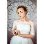 """Свадебное платье """"Элен Бенуа"""" с балеро без шлейфа, атласный корсер, цвет белый 42-44"""