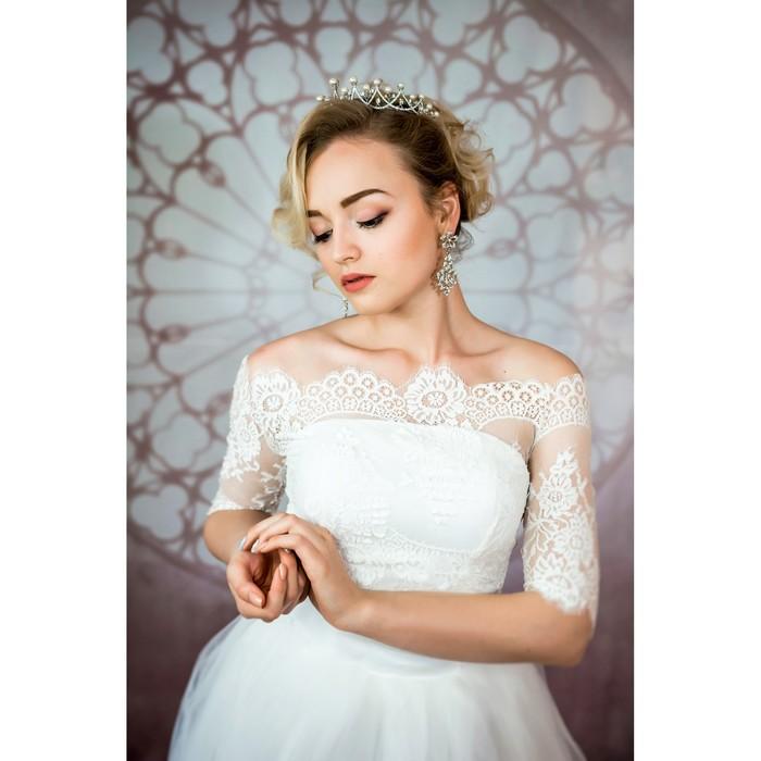 """Свадебное платье """"Элен Бенуа"""" с болеро без шлейфа, атласный корсер, цвет белый 42-44"""