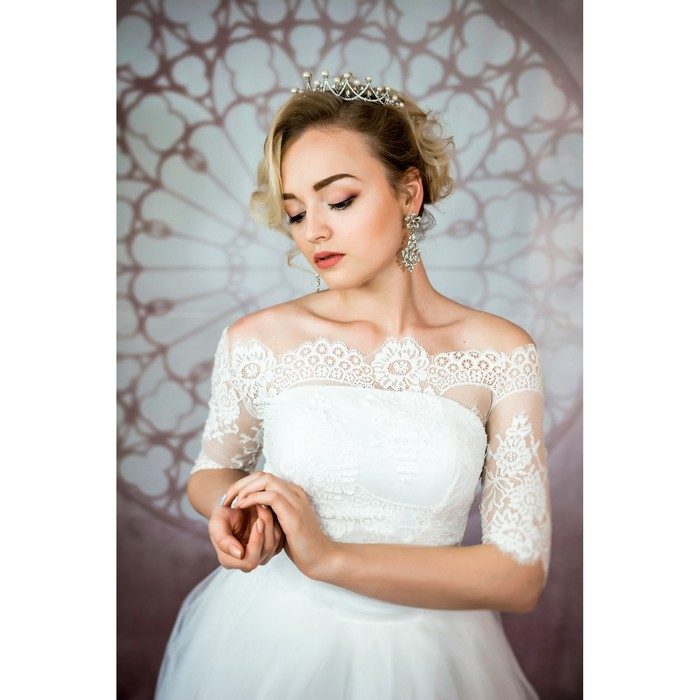 """Свадебное платье """"Элен Бенуа"""" с болеро без шлейфа, атласный корсер, болеро,белое 44-46"""