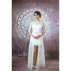 """Свадебное платье """"Шерр"""" с фатиновой юбкой с разрезом и бантом на поясе,белое/молочное 42-44   281503"""