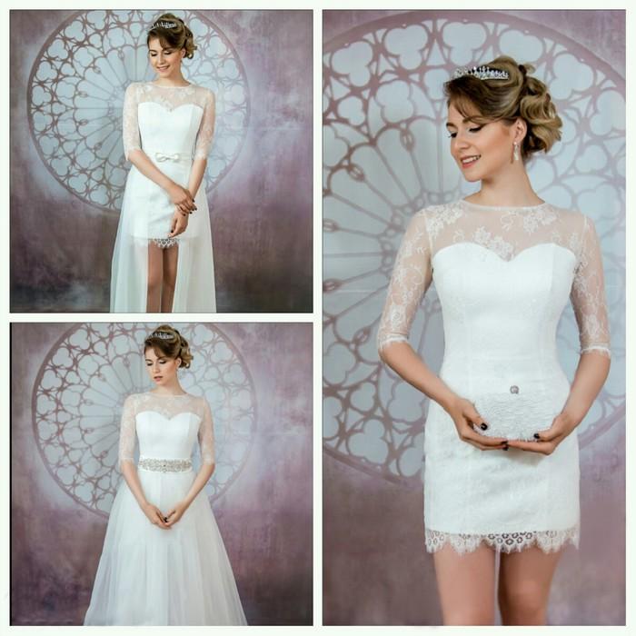"""Свадебное платье """"Шерр""""юбка открытая спереди,бант на поясе+юбка.бел/молоч. 42-44"""