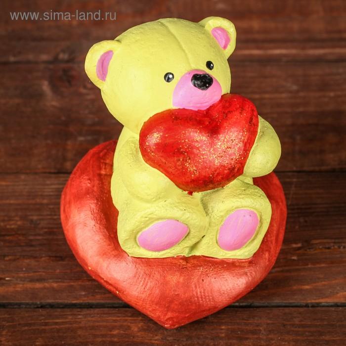 "Сувенир ""Медведь желтый на сердце с сердцем"", 7,5х6,5х8см"