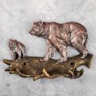 """Ключница """"Два медведя"""" бронза, 19х13х3см"""
