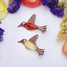 Брошь 'Янтарь' колибри в бронзе 3056, цвет МИКС Ош