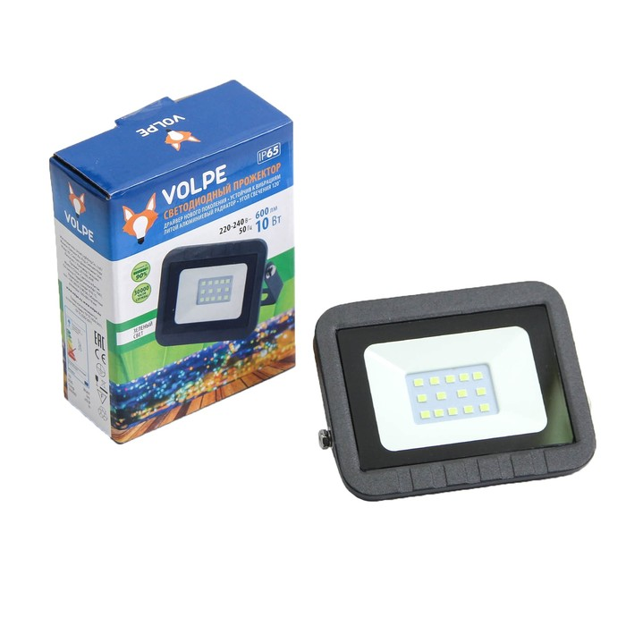Прожектор светодиодный Volpe ULF-Q511, 10 Вт, 220 В, IP65, зеленый свет