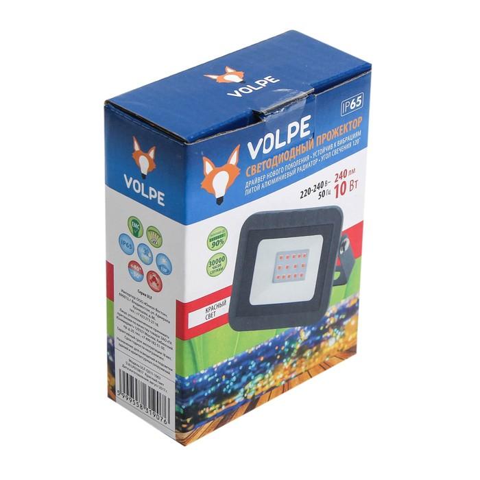 Прожектор светодиодный Volpe ULF-Q511, 10 Вт, 220 В, IP65, красный свет