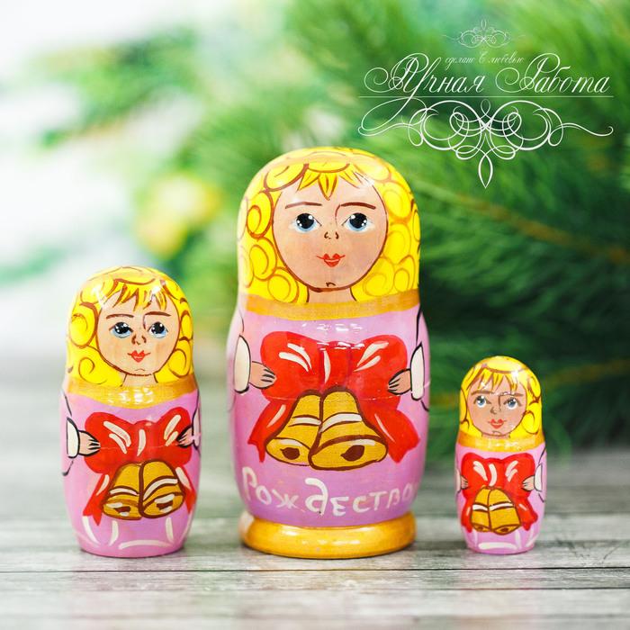 Матрёшка 3-х кукольная «Ангел с колокольчиками», 11 см