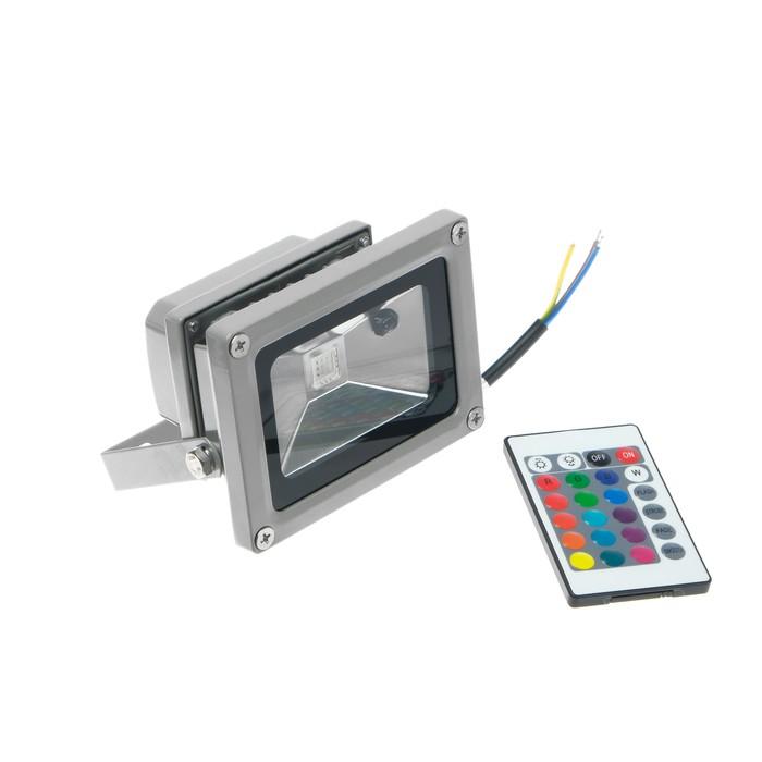 Прожектор светодиодный Uniel, 10 Вт, пульт ДУ, мультиколор, корпус серый