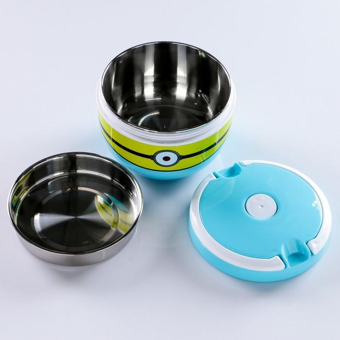 """Ланч-бокс детский """"Миньон"""", 1.2 л суповой, круглый, внутри металл, микс, 15х12.5 см"""