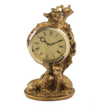 """Часы настольные """"Щенки"""", цвет состаренное золото, 25х13.5 см"""