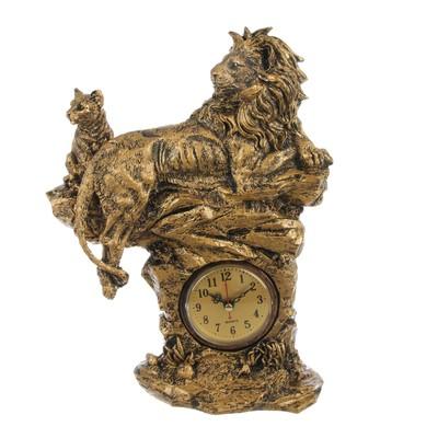 "Часы настольные ""Царь горы"", цвет потускневшее золото, 33х22 см"