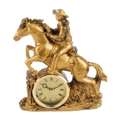 """Часы настольные """"Всадник на коне"""", цвет состаренное золото, 25х29 см"""