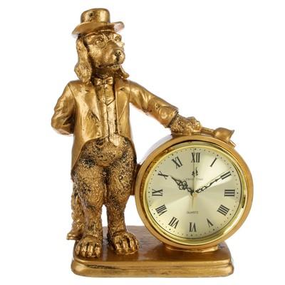 """Часы настольные """"Пёс-хранитель времени"""", цвет состаренное золото, 36х25 см"""