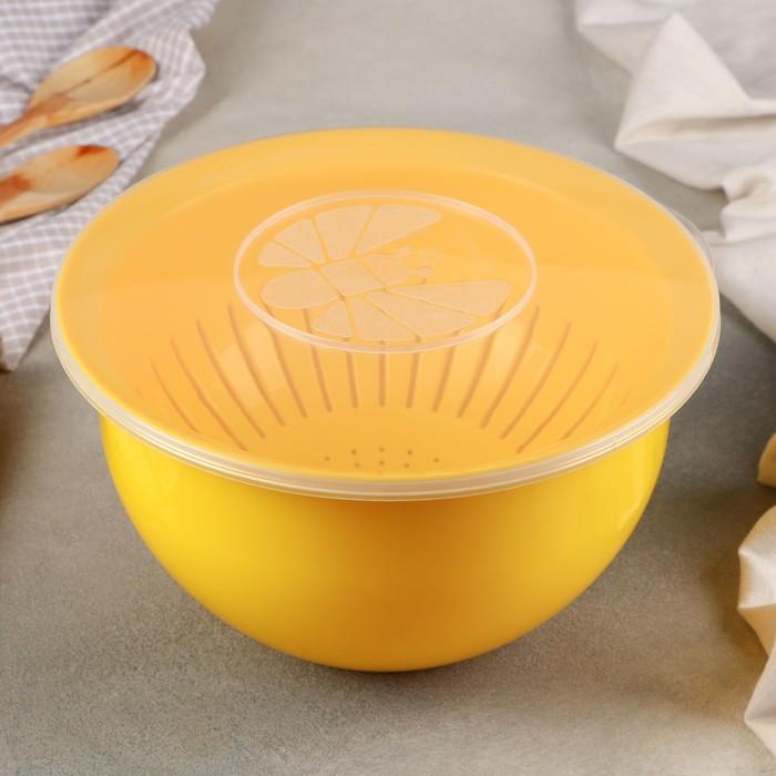 Комплект посуды: миска - 3 л, крышка, дуршлаг, цвет МИКС