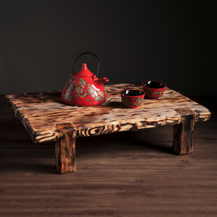 """Столик для завтрака """"Тай"""", обжиг с брашированием, массив сосны, 60 х 42 см"""