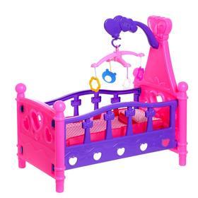 Кроватка для куклы, с каруселью и игрушками