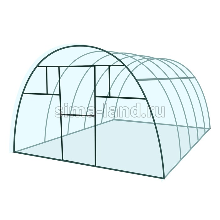 Каркас теплицы «Комфорт», 8 × 3 × 2,1 м, металл, профиль 20 × 20 мм, без поликарбоната, 4 форточки,
