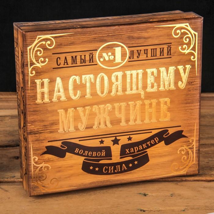 """Подарочный набор """"За силу и мужество"""", фляжка 180 мл,стопка 2 шт., фигурка"""