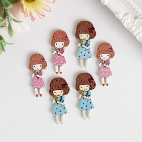 """A set of buttons decorative """"Girls"""" (set 6 PCs) 3,8x1,7 cm"""