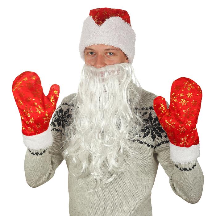 """Набор взрослый""""Новогодний""""шапка с золотыми снежинками,варежки, борода,плюш,р-р 56-59"""