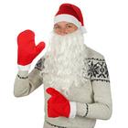 """Набор взрослый""""Новогодний""""колпак красный,варежки, борода,плюш,р-р 56-59"""