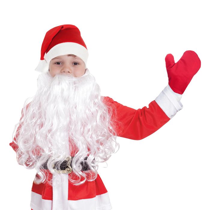 """Набор детский""""Новогодний""""колпак красный,варежки, борода,плюш,р-р 53-56"""