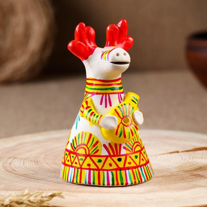 Филимоновская игрушка колокольчик «Бык»
