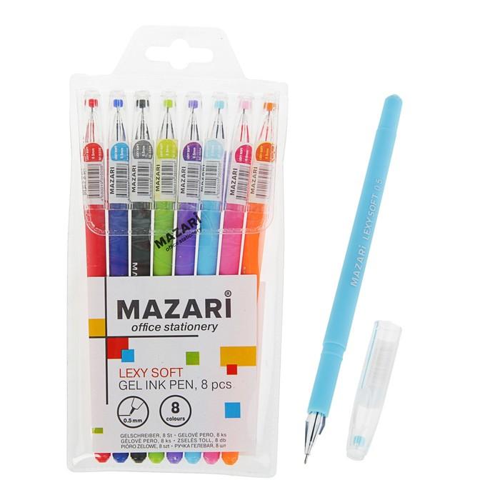 Набор гелевых ручек 8 цветов Lexy Soft, узел 0.5 мм, игольчатый пишущий узел - фото 369525774