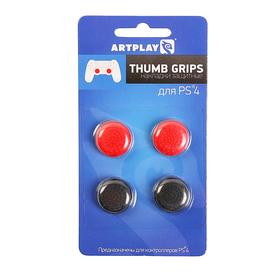 Накладки защитные на джойстики геймпада, Artplays Thumb Grips, 4шт(красный/черный), для PS 4   29060 Ош