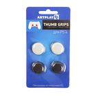 Накладки защитные на джойстики геймпада, Artplays Thumb Grips, 4 шт,белый/черный, для PS 4