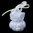 """Сувенир керамика колокольчик """"Голубая сова в цветочек"""" стразы 6х4,5х4,5 см"""