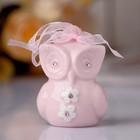 """Сувенир керамика колокольчик """"Розовая сова в цветочек"""" стразы 6х4,5х4,5 см"""