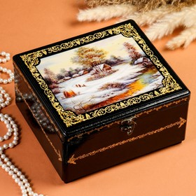 Шкатулка - сундук «Деревня у ручья», лаковая миниатюра, 22х22х11,5 см