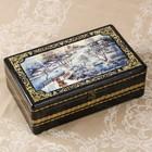 Шкатулка - сундук «Русская зима», 32×19,5×11 см, лаковая миниатюра