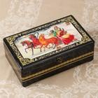 Шкатулка - сундук «Пара на тройке лошадей», лаковая миниатюра, 32х19,5х11 см