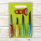 Набор 6 предметов: 4 ножа 6/8,5/8,5/11,5 см, овощечистка, доска 30х20 см , цвета МИКС