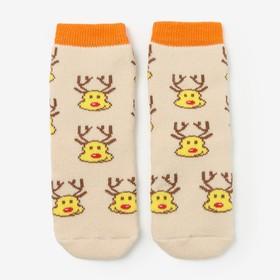 Носки детские махровые, цвет светло-бежевый, размер 14-16